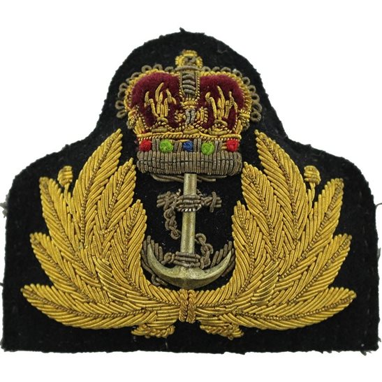 Royal Navy British Royal Navy Petty Officers Cloth Cap Badge - Queens Crown