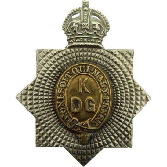 1st Kings Dragoon Guards WW1 1st Kings Dragoon Guards Regiment KDG (King's) Cap Badge - 1ST PATTERN