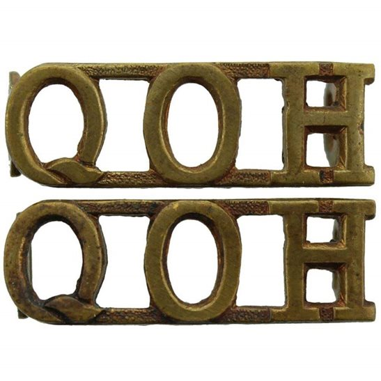 Queens Own Hussars Queens Own Hussars Regiment Queen's Shoulder Title PAIR