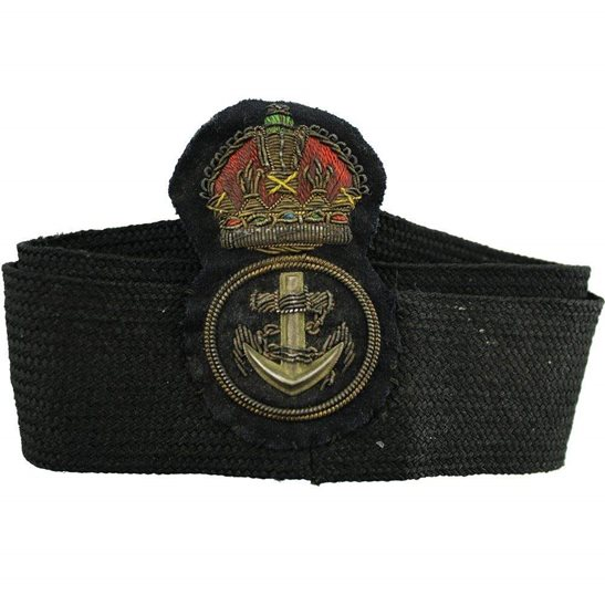 Royal Navy WW1 British Royal Navy Petty Officers Cloth Bullion Cap Badge