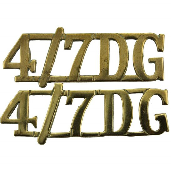 4th/7th Royal Dragoon Guards 4th / 7th Dragoon Guards Regiment 4th/7th Shoulder Title PAIR