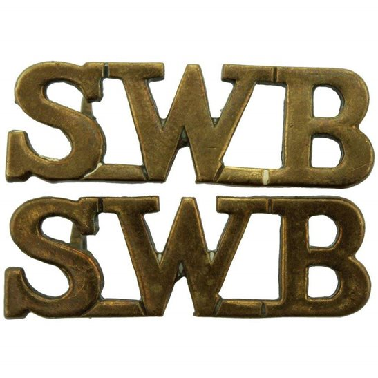 South Wales Borderers South Wales Borderers Regiment SWB Shoulder Title PAIR