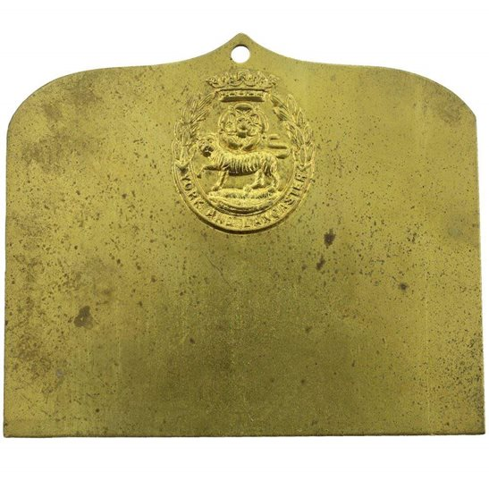 York & Lancaster York and Lancaster Regiment Brass Bed / Duty Foot Plate