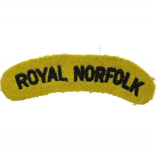 Norfolk Regiment WW2 Royal Norfolk Regiment Cloth Shoulder Title Badge Flash
