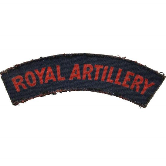 Royal Artillery WW2 Royal Artillery Regiment PRINTED Cloth Shoulder Title Badge Flash