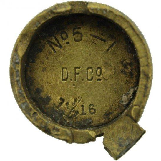WW1 No 5 Mills Bomb Grenade Base Plug D.F.Co. DERWENT FOUNDRY Co Ltd - Somme Battlefield Find