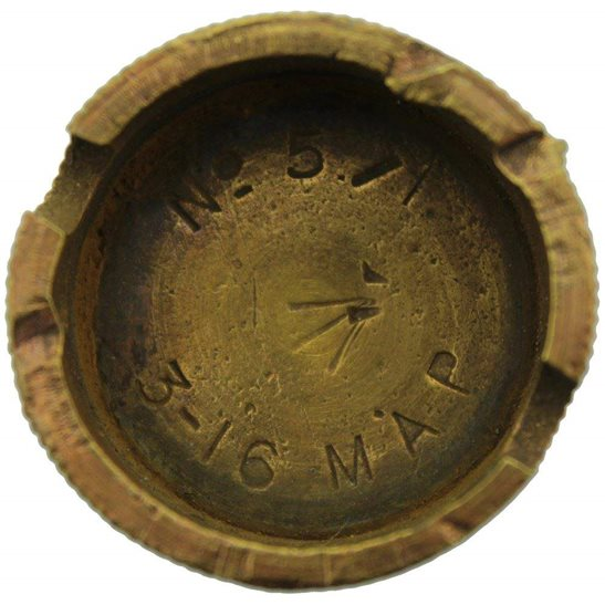 WW1 No 5 Mills Bomb Grenade Base Plug MAY & PADMORE - Somme Battlefield Find