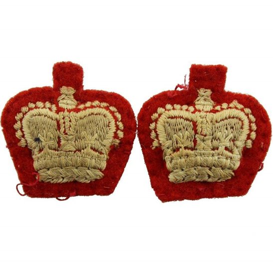 Queens Crown British Army Officers CLOTH Insignia Pips - Rank of Major Set PAIR