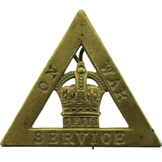 WW1 On War Service 1916 Lapel Badge - WYLIE & CO LONDON