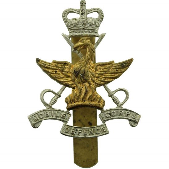 Mobile Defence Corps Cap Badge - Queens Crown