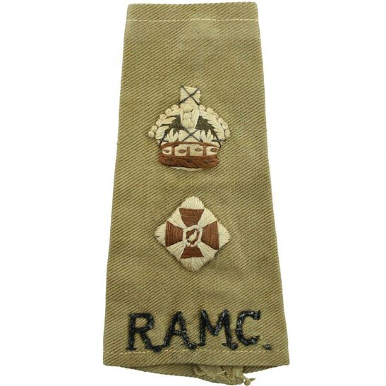 Royal Army Medical Corps RAMC WW2 Royal Army Medical Corps RAMC Officers Slip-On Epaulette Insignia Shoulder Title Rank Pips - LIEUTENANT COLONEL