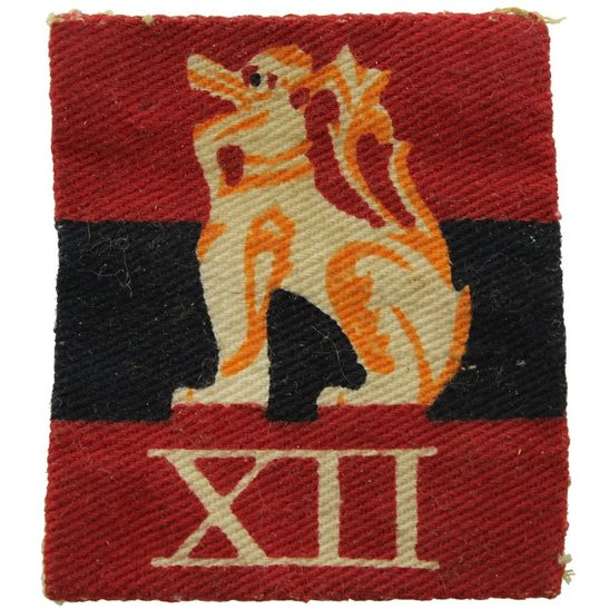 WW2 British 12th Army PRINTED Cloth Formation Sign Patch Badge