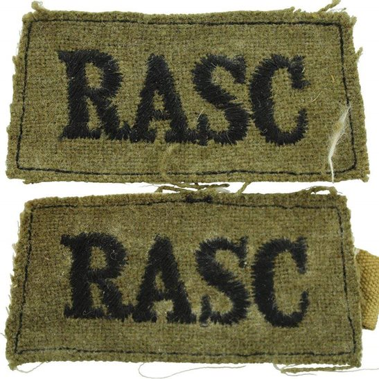 Royal Army Service Corps RASC WW2 Royal Army Service Corps RASC Cloth SLIP-ON Shoulder Title Badge Flash PAIR