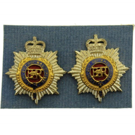 Royal Corps Of Transport Rcot Officers Gilt Collar Badge Pair
