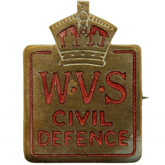 WW2 Womens Voluntary Service Civil Defence WVS Women's Lapel Badge