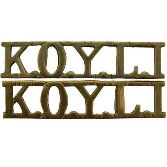 Kings Own Yorkshire Light Infantry KOYLI Kings Own Yorkshire Light Infantry (KOYLI) King's Shoulder Title PAIR
