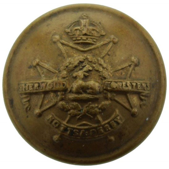 Notts and Derby WW1 Notts and Derby (Sherwood Foresters) Regiment SMALL Tunic Button - 19mm