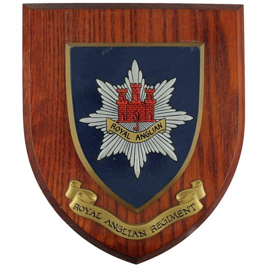 Royal Anglian Regiment Wooden Wall Plaque Shield Badge