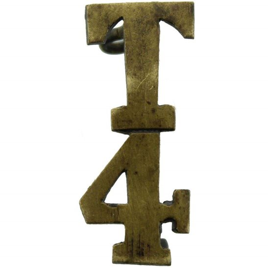 4th Territorial Battalion T4 Insignia Number Shoulder Title - Measures 28mm