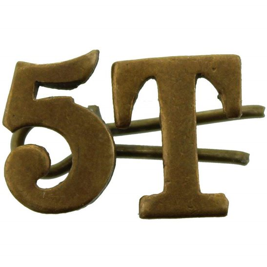5th Territorial Battalion T5 Insignia Number Shoulder Title - Measure 14mm each