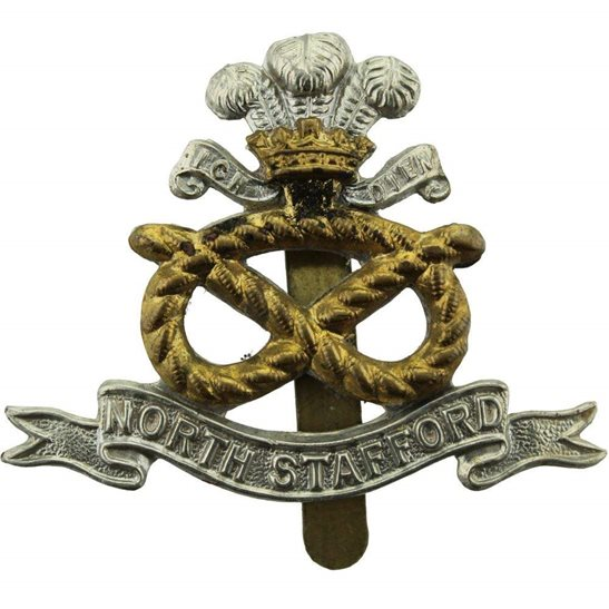 North Staffordshire WW1 North Staffordshire (Stafford) Regiment Cap Badge