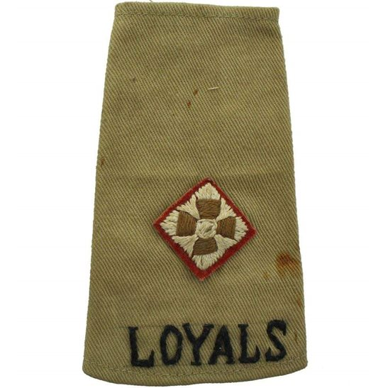 Loyal North Lancashire WW2 Loyal North Lancashire Regiment Officers Slip-On Epaulette Insignia Shoulder Title Rank Pip