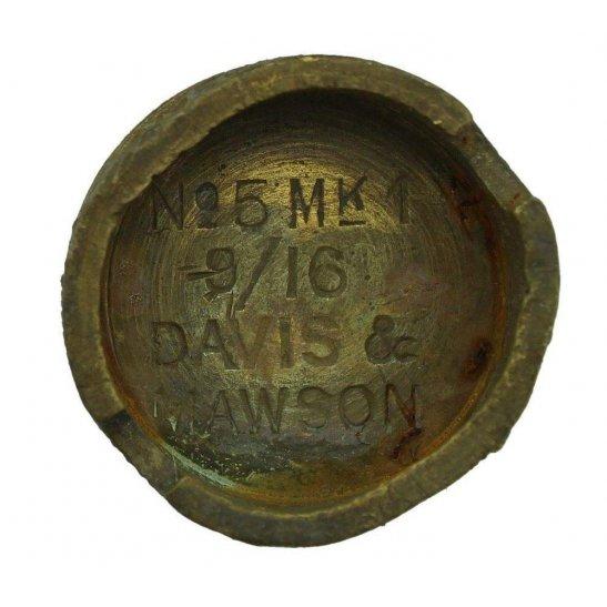 WW1 No 5 Mills Bomb Grenade Base Plug DAVIS & MAWSON - Somme Battlefield Find