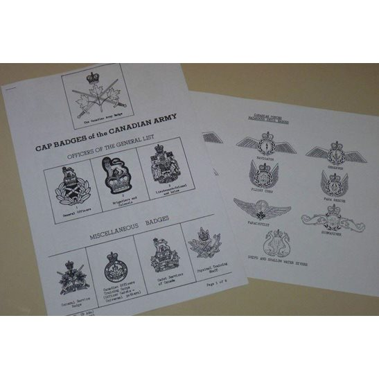 Post 1952 Canadian Cap Badge Reference Leaflet