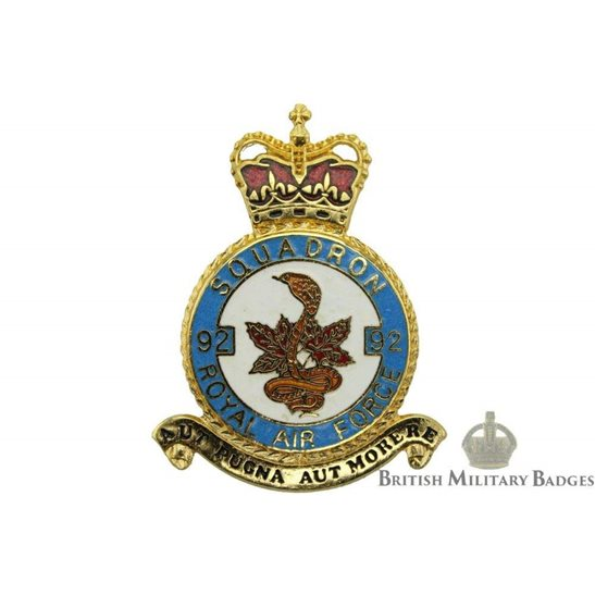 RAF Squadrons 92 Squadron Royal Air Force PLAQUE Badge RAF