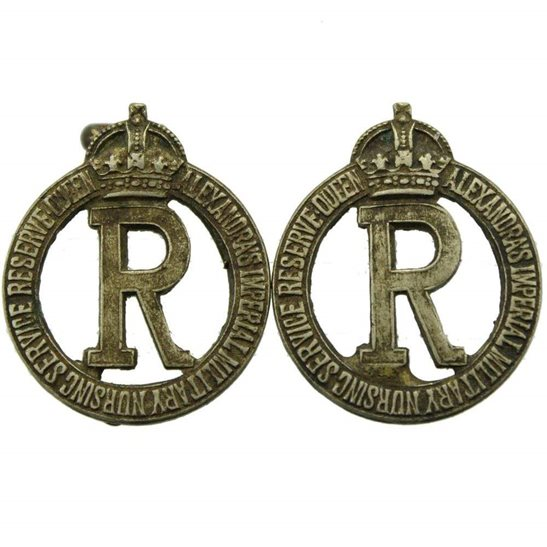 Queen Alexandras Nurses Queen Alexandras Imperial Military Nursing Service Reserve Collar Badge PAIR