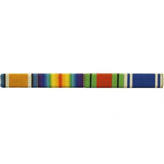 WW1 Medal Ribbon Bar - British War & Victory Pair and WW2 Defence - PIN BACK