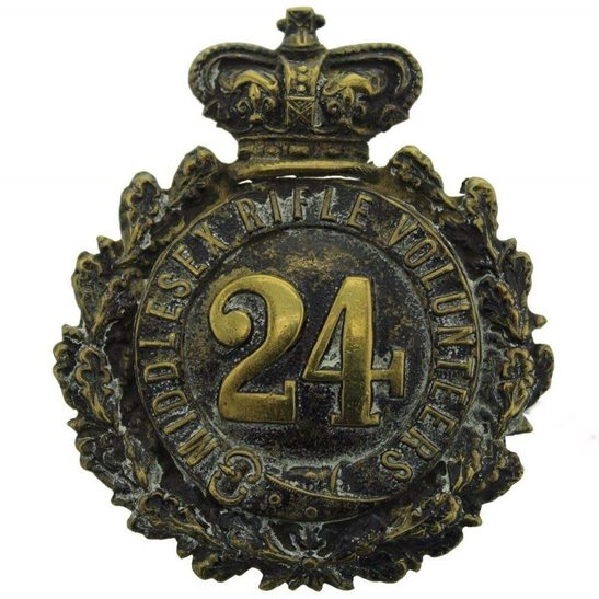 additional image for VICTORIAN 24th Middlesex Rifle Volunteers Regiment Cap Badge / Helmet Plate - Queen Victoria Crown
