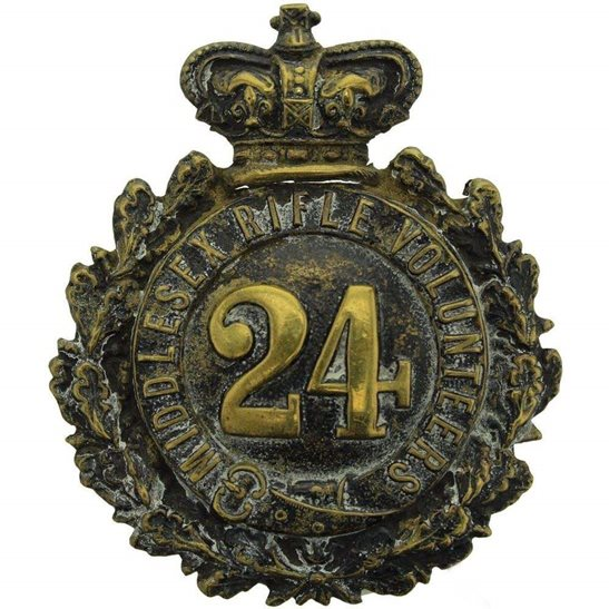Middlesex Regiment VICTORIAN 24th Middlesex Rifle Volunteers Regiment Cap Badge / Helmet Plate - Queen Victoria Crown
