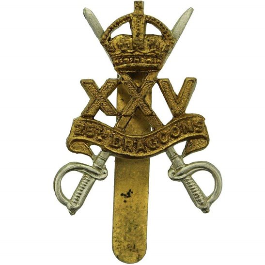 25th Dragoons WW2 RAISED 25th Dragoons Regiment Cap Badge