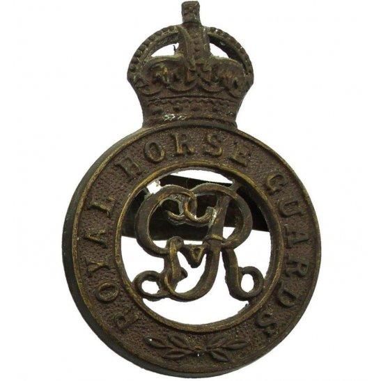 Royal Horse Artillery RHA WW1 Royal Horse Guards Regiment RHG OFFICERS Bronze George V Cap Badge