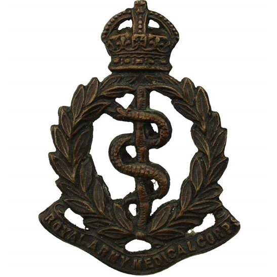 Royal Army Medical Corps RAMC WW1 Royal Army Medical Corps RAMC OFFICERS Bronze Collar Badge