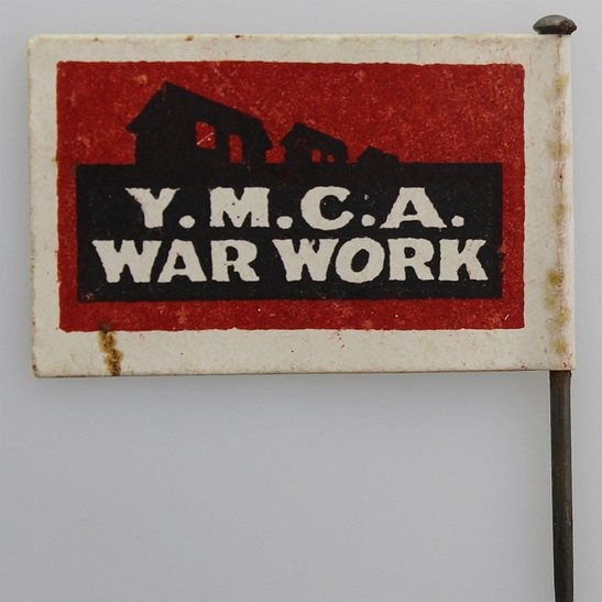 WW1 Young Mens Christian Association YMCA War Work Flag Day Fundraising Pin Badge