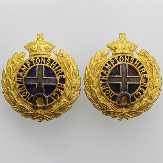 Northamptonshire Regiment VICTORIAN Northamptonshire Regiment OFFICERS Gilt and Enamel Collar Badge PAIR