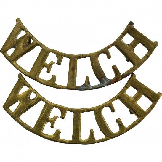 Welch Regiment WW2 Welch (Welsh) Regiment Shoulder Title PAIR