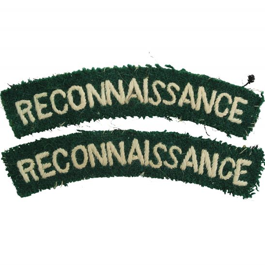Reconnaissance Corps WW2 Reconnaissance Corps Cloth Shoulder Title Badge Flash PAIR