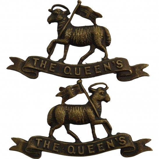 Queens West Surrey Queens Royal West Surrey (Queen's) Regiment OFFICERS Bronze Collar Badge PAIR