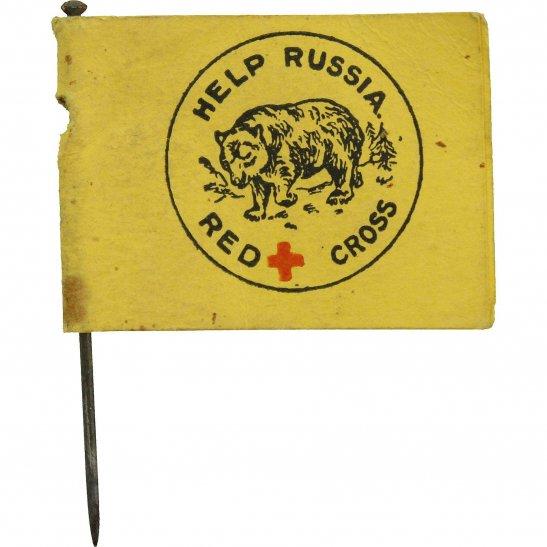 WW1 Russian War Effort Help Russia Red Cross Flag Day Fundraising Pin Badge