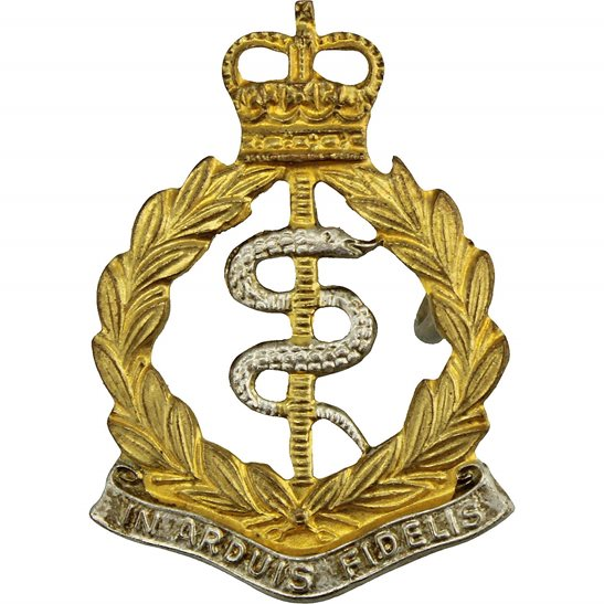 Royal Army Medical Corps RAMC Royal Army Medical Corps RAMC Collar Badge - Queens Crown