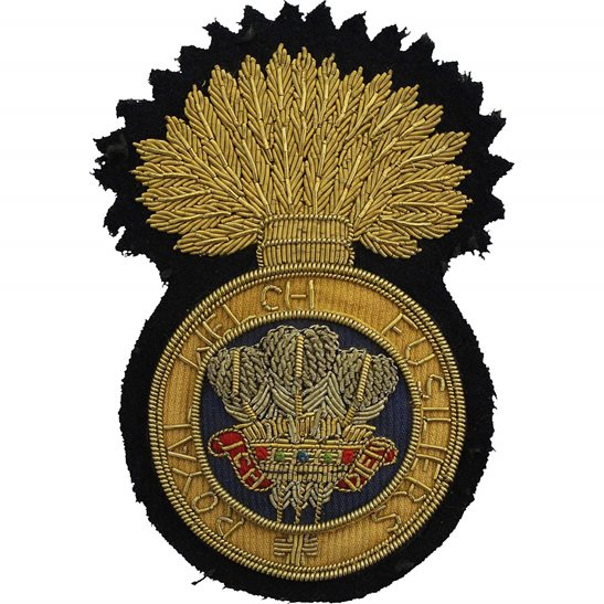 Royal Welsh Fusiliers Royal Welch Fusiliers Regiment Cloth Wire BULLION Veterans Blazer Badge
