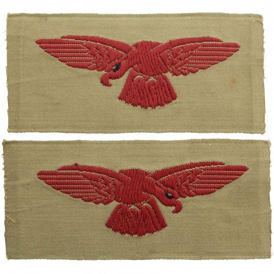 Royal Air Force RAF WW2 Royal Air Force RAF Eagle Cloth TROPICAL Shoulder Title Badge Flash PAIR