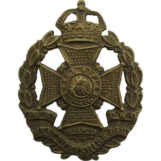 West Yorkshire WW1 7th & 8th (Leeds Rifles) Battalions, West Yorkshire Regiment Cap Badge