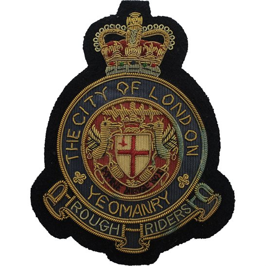 Rough Riders City of London Yeomanry Rough Riders Regiment Cloth Wire BULLION Veterans Blazer Badge