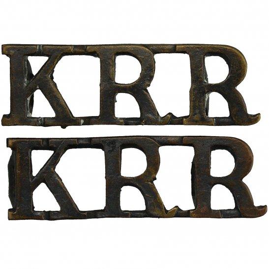 Kings Royal Rifle Corps KRRC Kings Royal Rifle Corps KRR (King's) Regiment Shoulder Title PAIR