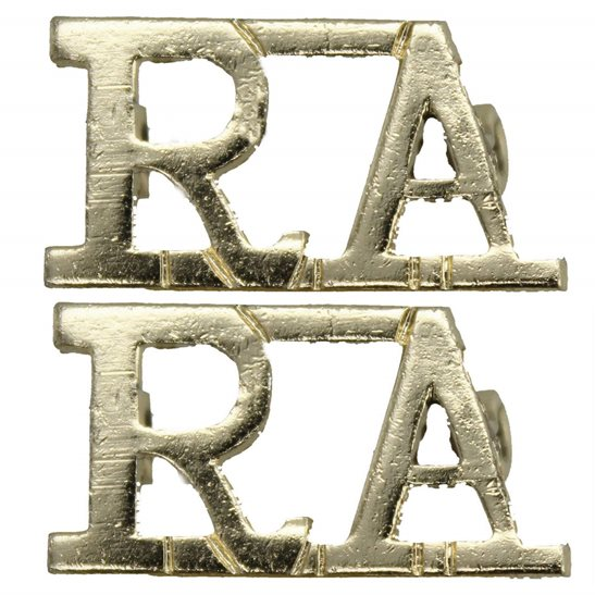 Royal Artillery Royal Artillery Regiment Staybrite Anodised Shoulder Title PAIR - Staybright