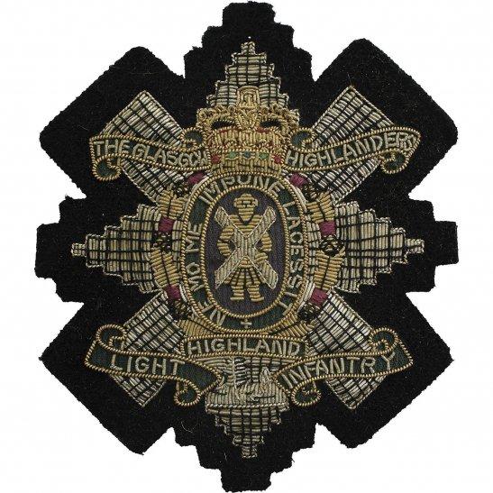 Highland Light Infantry Glasgow Highlanders, Highland Light Infantry Regiment Cloth Wire BULLION Veterans Blazer Badge Patch